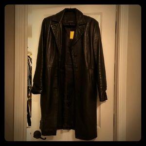 Long black leather coat. Classic